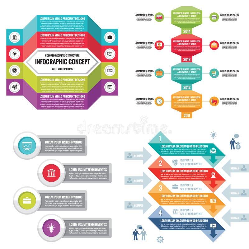 企业infographic模板概念传染媒介例证 抽象横幅集 广告促进布局汇集 皇族释放例证