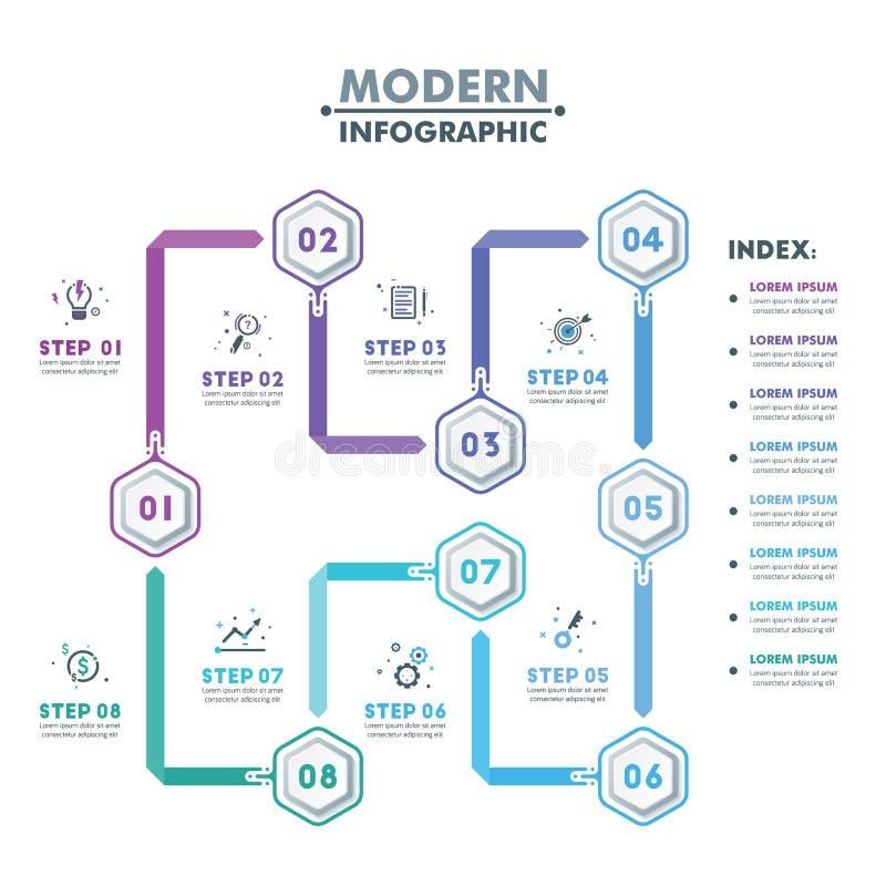 企业infographic模板 现代六角Infographics时间 库存例证