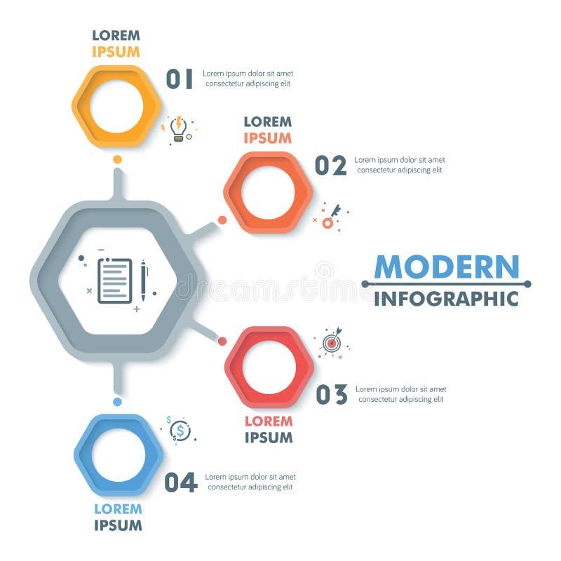 企业infographic模板 现代六角Infographics蒂姆 向量例证