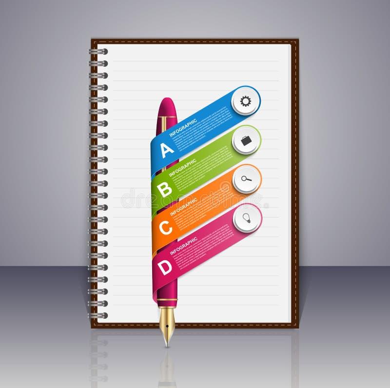 企业infographic设计模板 墨水笔和笔记薄 库存例证