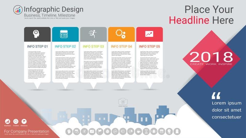 企业infographics模板、里程碑时间安排或者路线图与处理流程图5选择 库存例证