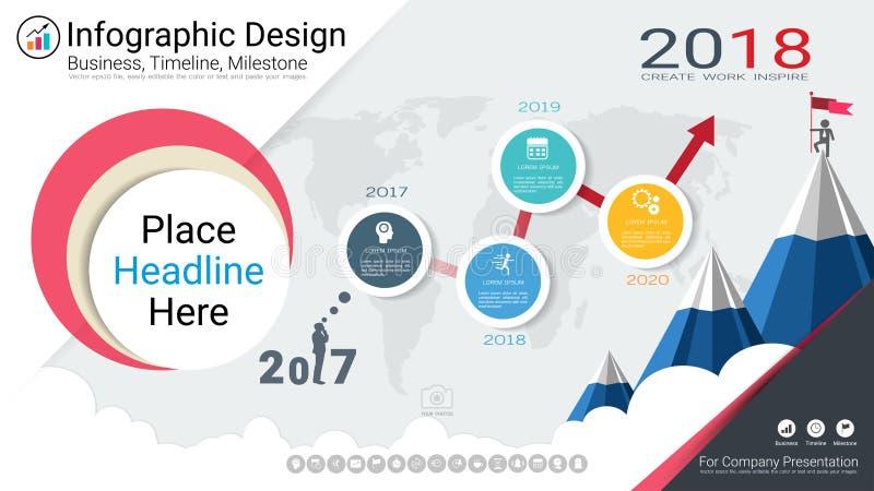企业infographics模板、里程碑时间安排或者路线图与处理流程图4选择 向量例证