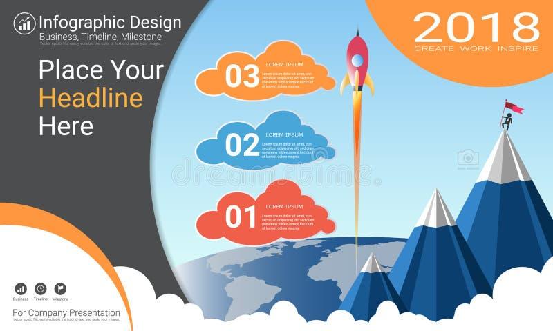 企业infographics模板、里程碑时间安排或者路线图与处理流程图3选择 皇族释放例证