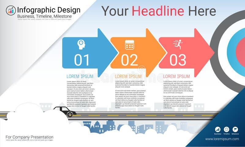 企业infographics模板、里程碑时间安排或者路线图与处理流程图3选择 向量例证