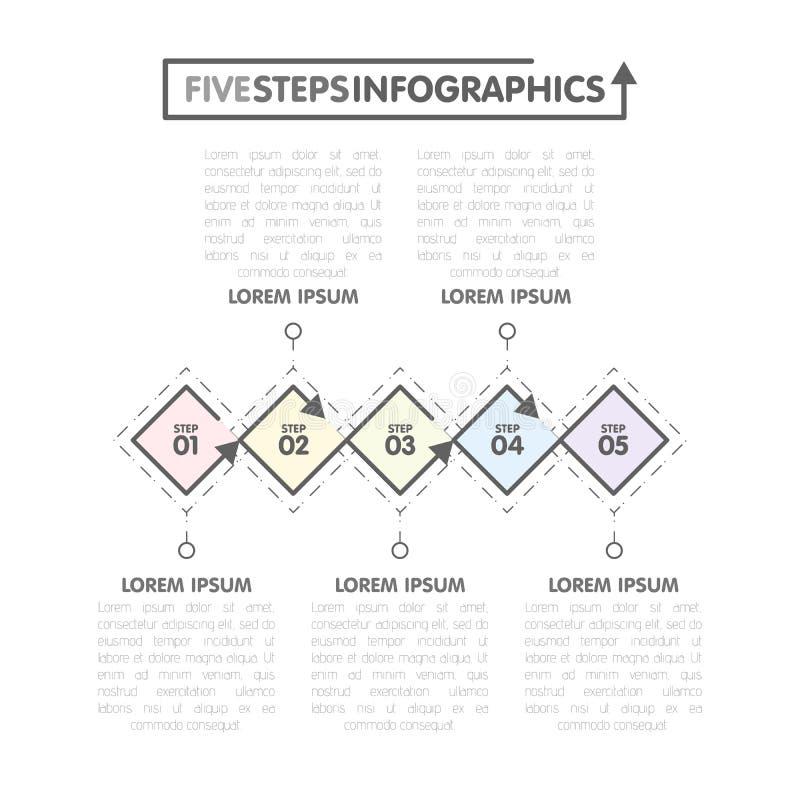 企业infographics模板 与5菱形,第五步的时间安排编号选择 向量 向量例证