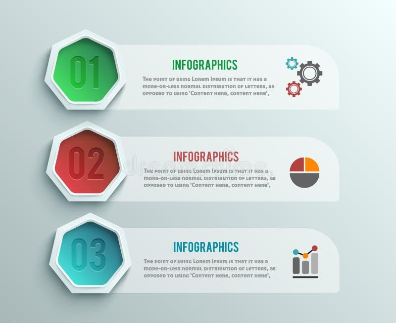 企业infographics横幅origami样式 皇族释放例证