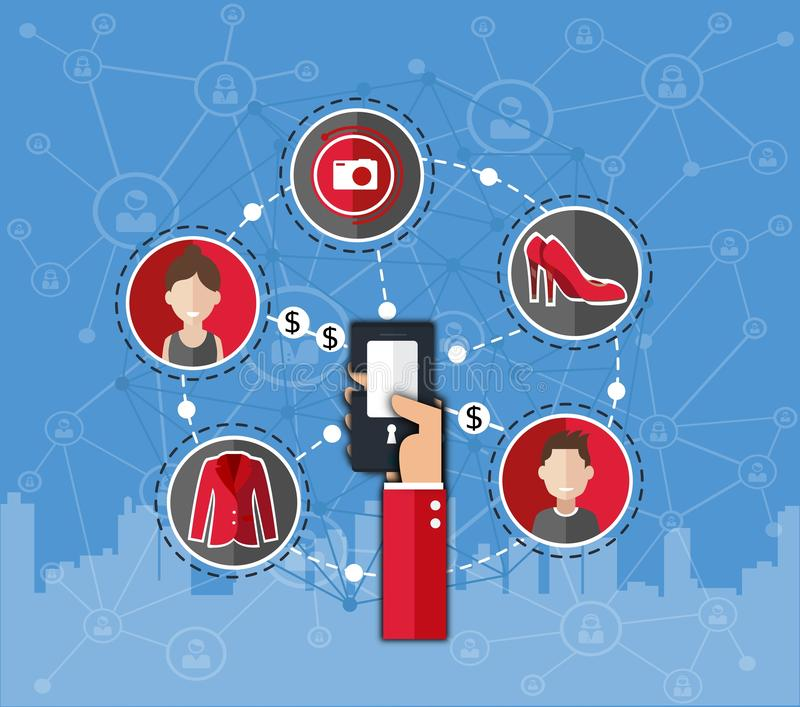 企业infographics网络购物 物品交换  租事 着陆页 网络链子 库存例证