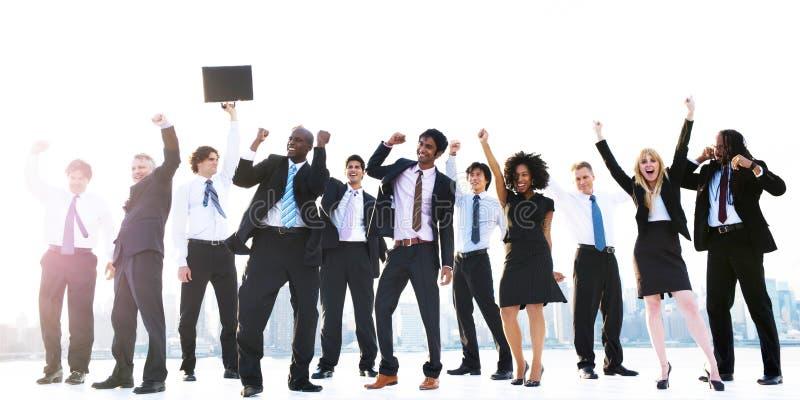 企业Peope成功庆祝赢取的概念 免版税库存照片