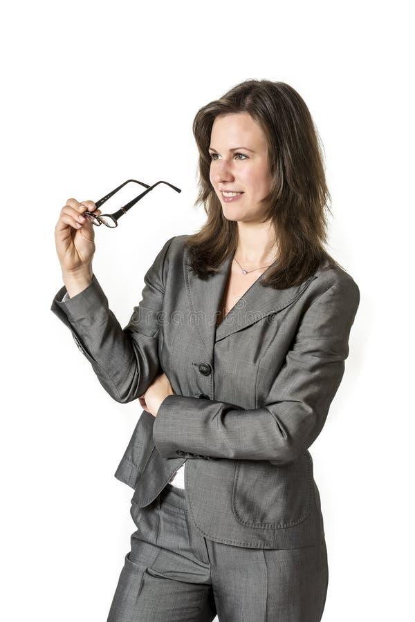 企业womanwith玻璃 库存图片