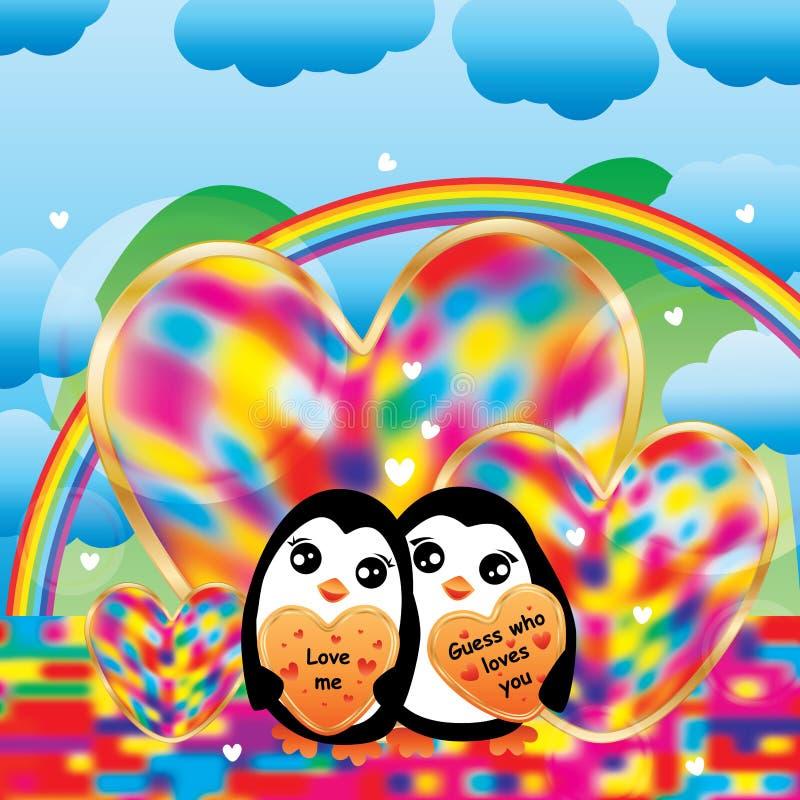 企鹅五颜六色的爱彩虹 皇族释放例证