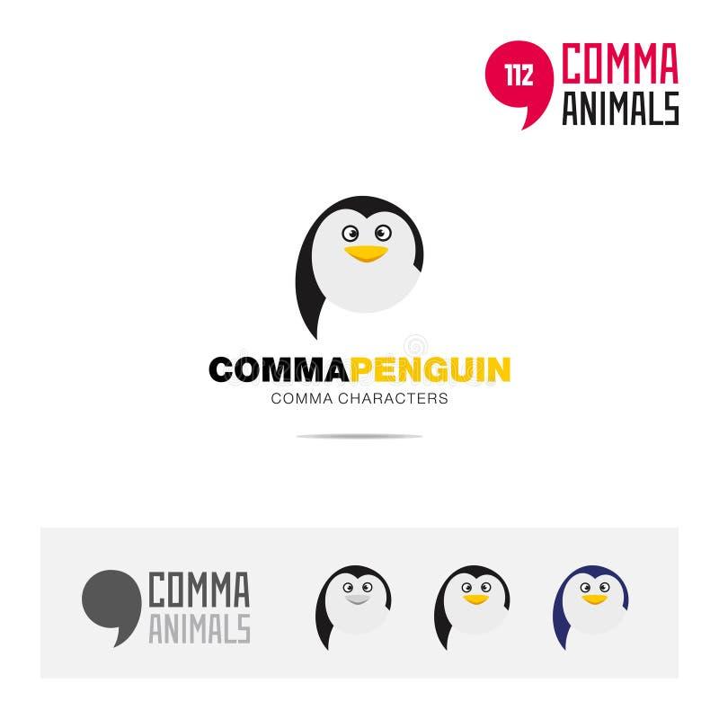 企鹅动物概念象集合和现代品牌身份商标模板和根据逗号的app标志签字 库存例证