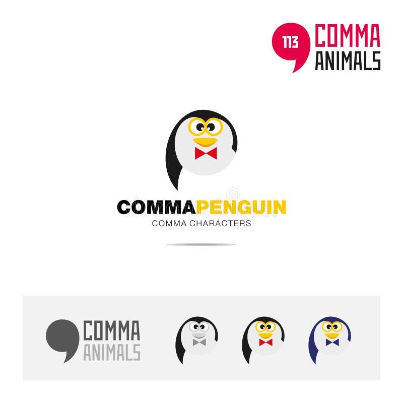 企鹅动物概念象集合和现代品牌身份商标模板和根据逗号的app标志签字 皇族释放例证