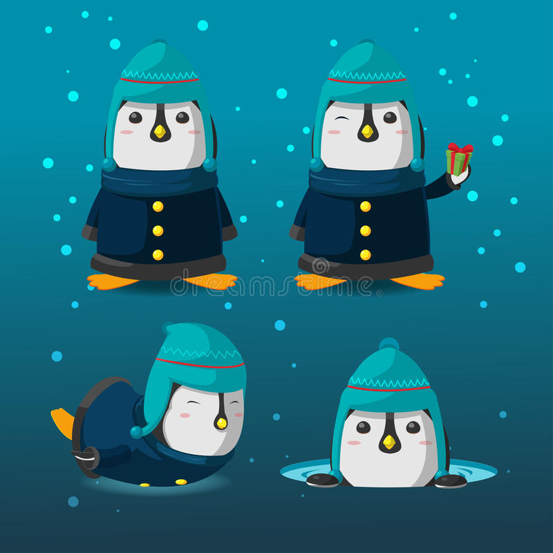 企鹅圣诞节动画片字符集传染媒介 库存例证