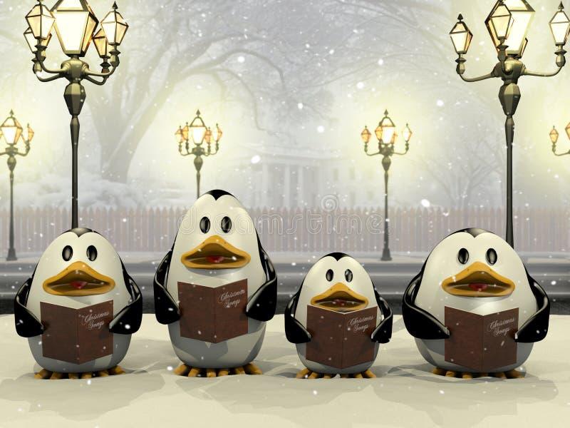 企鹅圣诞节合唱 库存例证