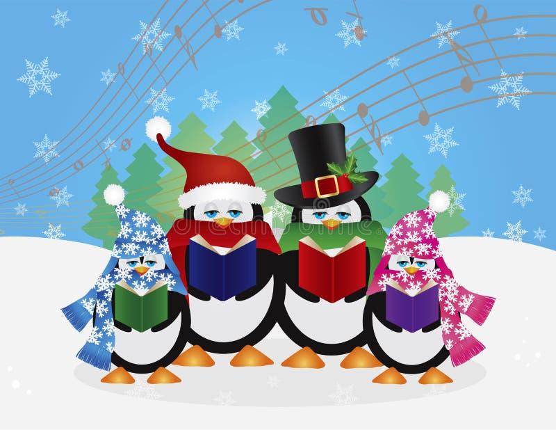 企鹅圣诞节欢唱雪场面例证 皇族释放例证