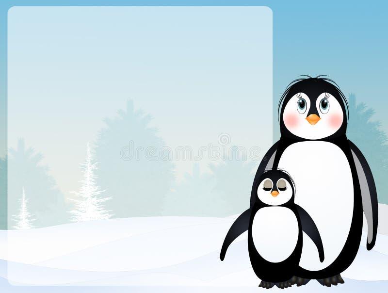 企鹅在冬天 皇族释放例证