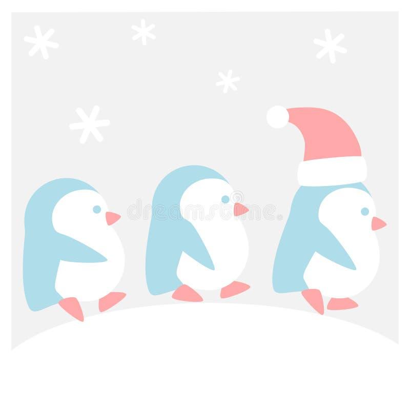 企鹅在雪走 向量例证