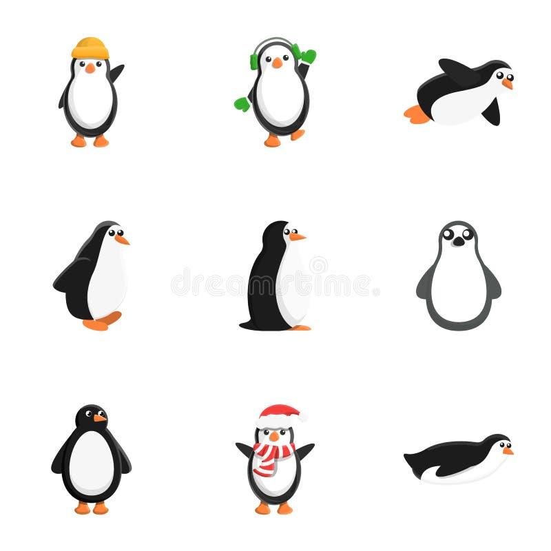 企鹅字符象集合,动画片样式 向量例证