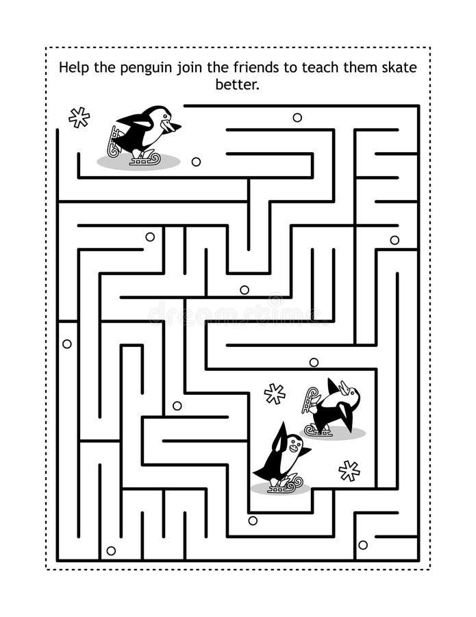 企鹅学冰玩迷宫游戏 库存例证