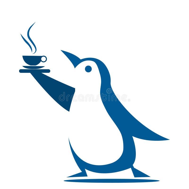 企鹅带来咖啡 r 向量例证