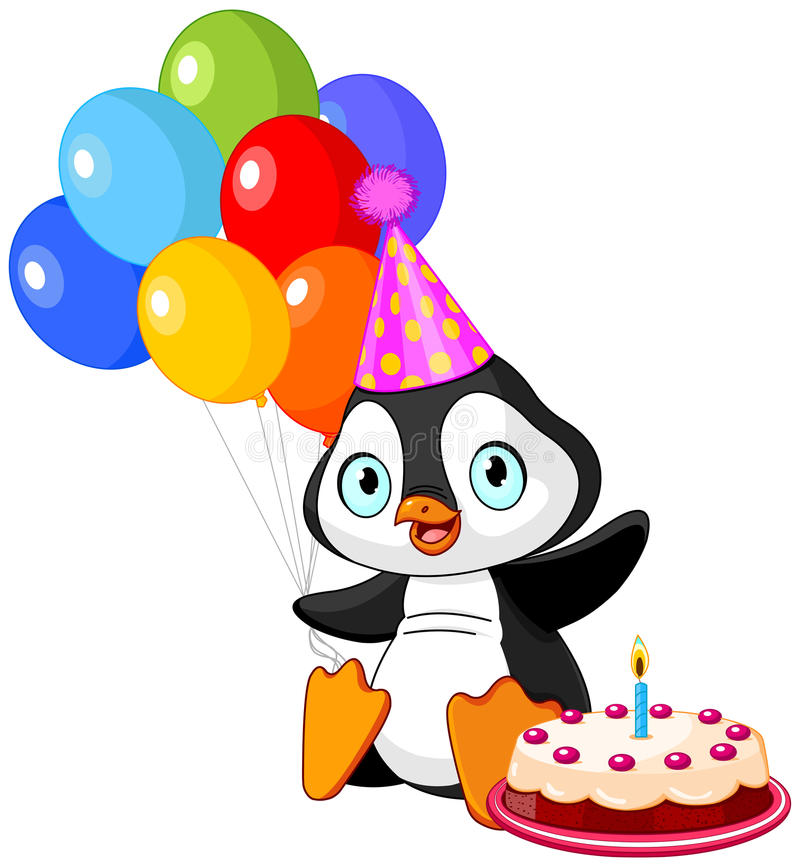 企鹅庆祝生日 皇族释放例证
