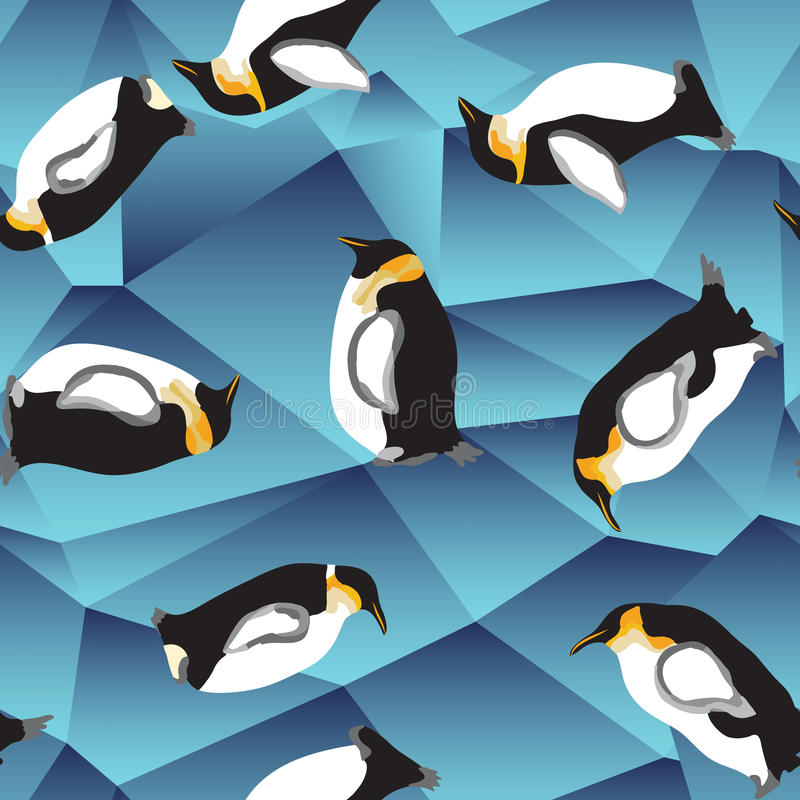企鹅样式,蓝色水晶冰背景 向量例证