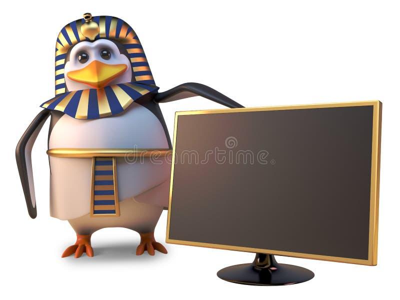 企鹅法老王Tutankhamun喜欢与最新的宽银幕高定义金电视,3d例证 向量例证