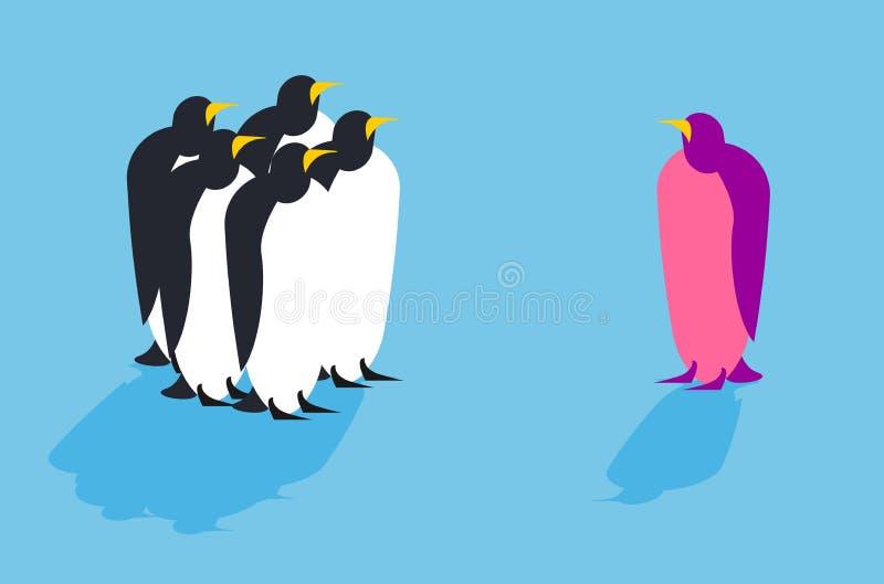 企鹅 从另一个组装的动物 向量例证