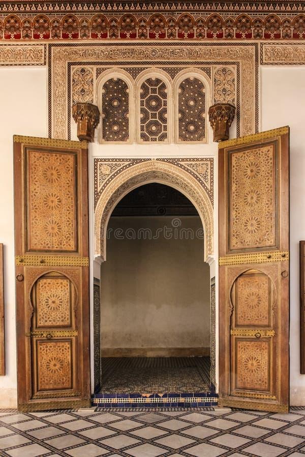 巴伊亚宫殿 内部 马拉喀什 摩洛哥 库存照片