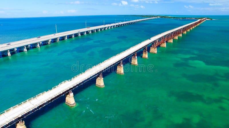 巴伊亚本田国家公园桥梁鸟瞰图,佛罗里达-美国 免版税库存照片