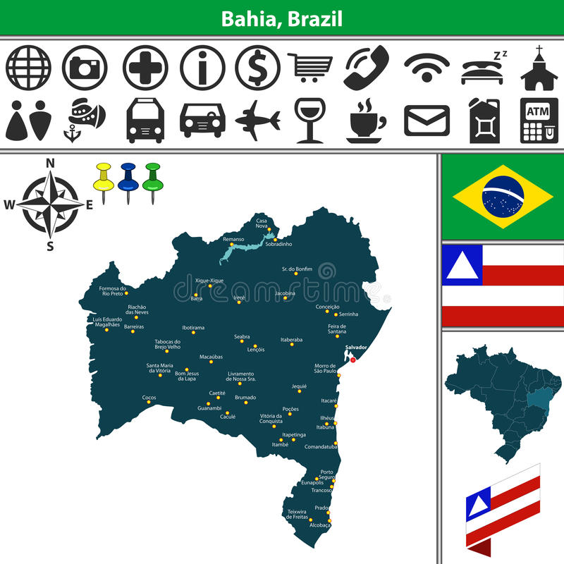 巴伊亚,巴西的地图 皇族释放例证