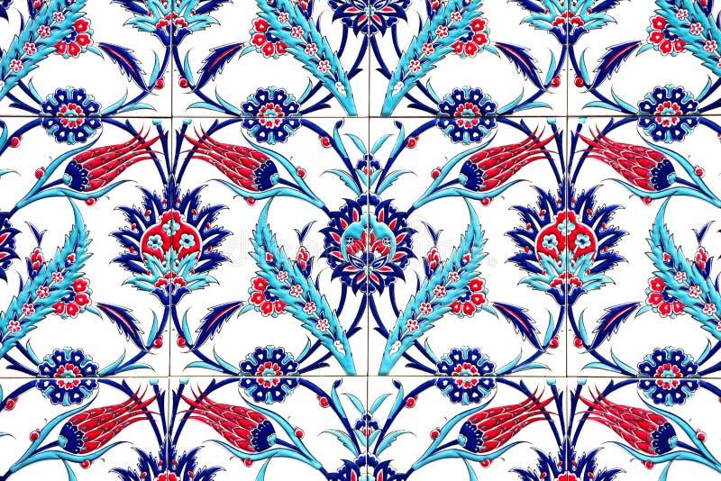 伊兹密尔,土耳其- 7月31 :在法提赫清真寺的土耳其艺术性的墙壁瓦片2014年7月31日在伊兹密尔 印象深刻的古老手工制造Tu 库存照片