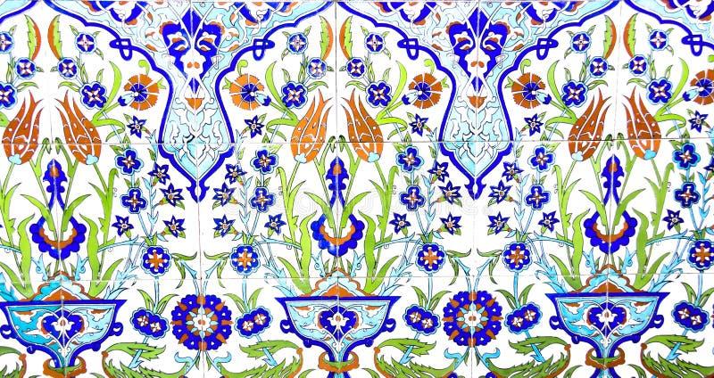 伊兹密尔,土耳其- 7月31 :在法提赫清真寺的土耳其艺术性的墙壁瓦片2014年7月31日在伊兹密尔 印象深刻的古老手工制造Tu 库存图片