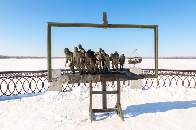 伊利亚・叶菲莫维奇・列宾绘画的古铜色纪念碑  免版税图库摄影