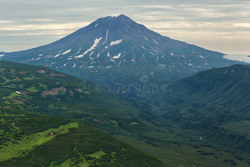 伊利因斯基火山Sopka -睡觉stratovolcano 南堪察加自然公园 库存照片