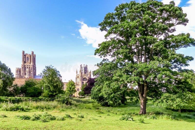 伊利大教堂看法在剑桥郡,英国 库存图片