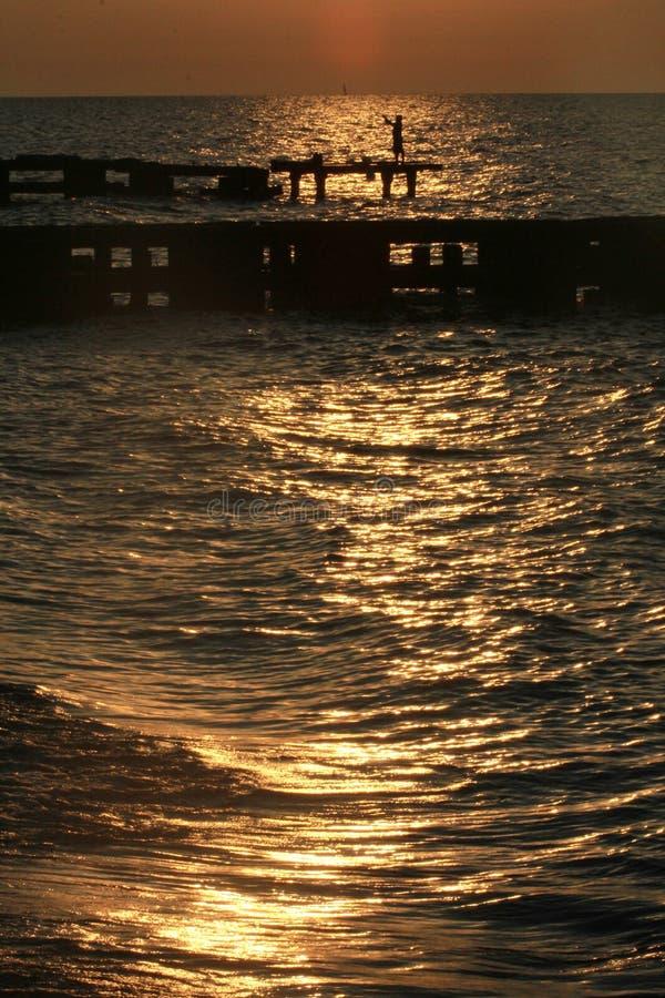 伊利湖的克利夫兰海岸在北美 免版税库存照片