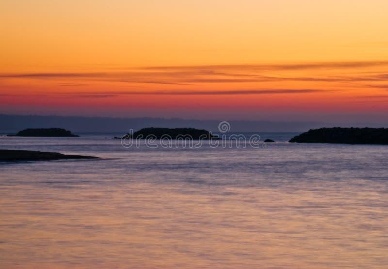 伊利湖minimalistic宾夕法尼亚日落 免版税图库摄影