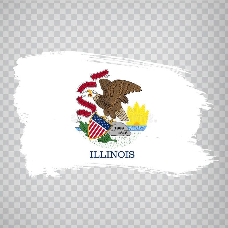 伊利诺伊旗子从刷子冲程的 ?? 在透明背景的旗子伊利诺伊您的网站设计的, 皇族释放例证