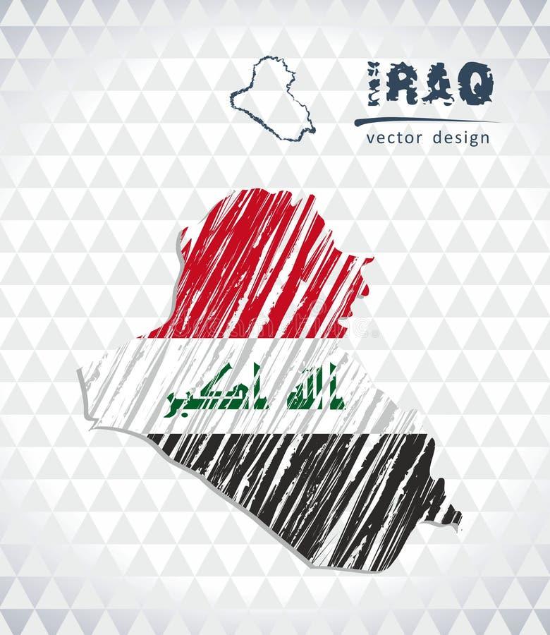 伊拉克与在白色背景隔绝的旗子里面的传染媒介地图 剪影白垩手拉的例证 库存例证