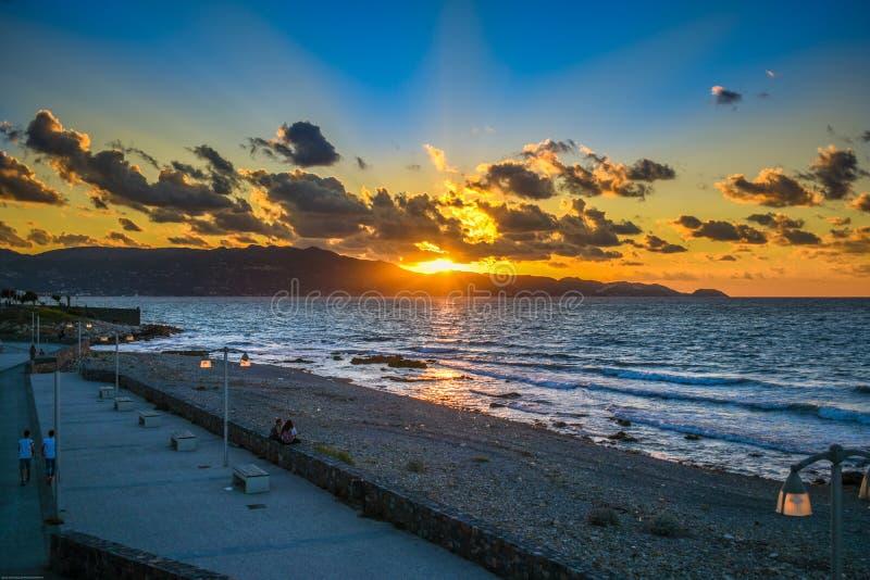 伊拉克利翁克利特希腊海岸地区  免版税库存图片