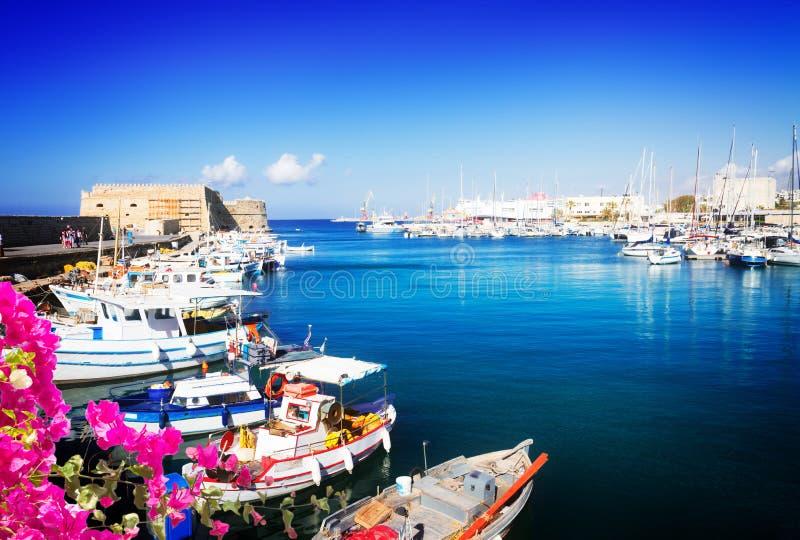 伊拉克利翁,克利特,希腊旧港口  免版税库存照片