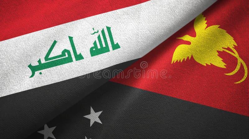 伊拉克和巴布亚新几内亚两旗子纺织品布料,织品纹理 库存例证