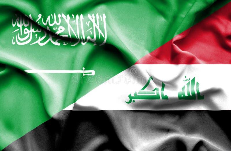 伊拉克和沙特阿拉伯的挥动的旗子 库存例证