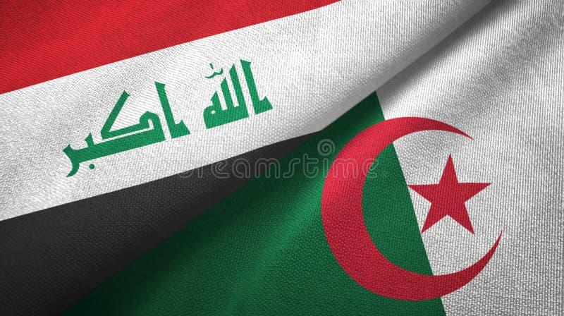 伊拉克和阿尔及利亚两旗子纺织品布料,织品纹理 库存例证