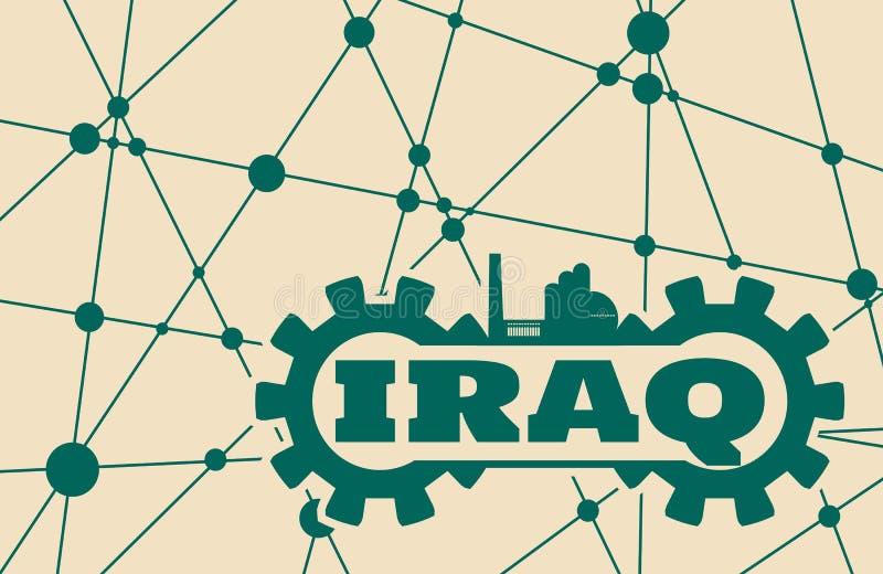 伊拉克在齿轮的词修造 向量例证