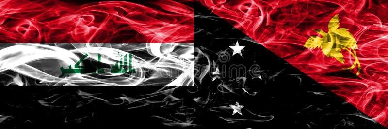 伊拉克对肩并肩被安置的巴布亚新几内亚五颜六色的概念烟旗子 库存例证