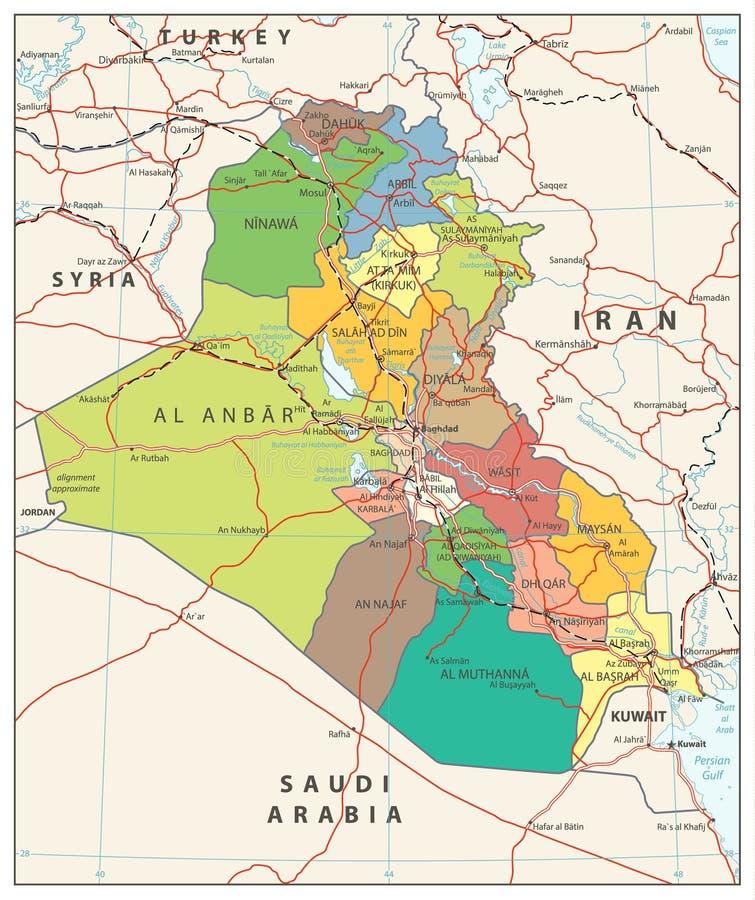 伊拉克政治地图 向量例证