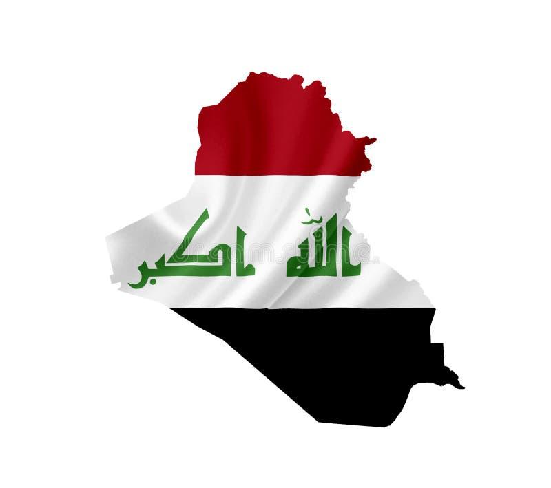伊拉克的地图有在白色隔绝的挥动的旗子的 免版税库存照片