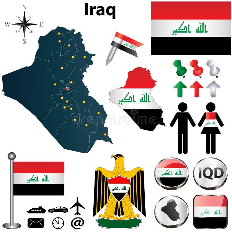 伊拉克的地图 库存例证